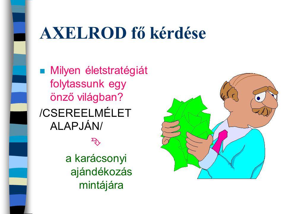 AXELROD fő kérdése n Milyen életstratégiát folytassunk egy önző világban.