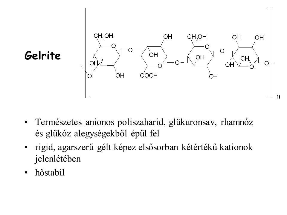Gelrite Természetes anionos poliszaharid, glükuronsav, rhamnóz és glükóz alegységekből épül fel rigid, agarszerű gélt képez elsősorban kétértékű kationok jelenlétében hőstabil