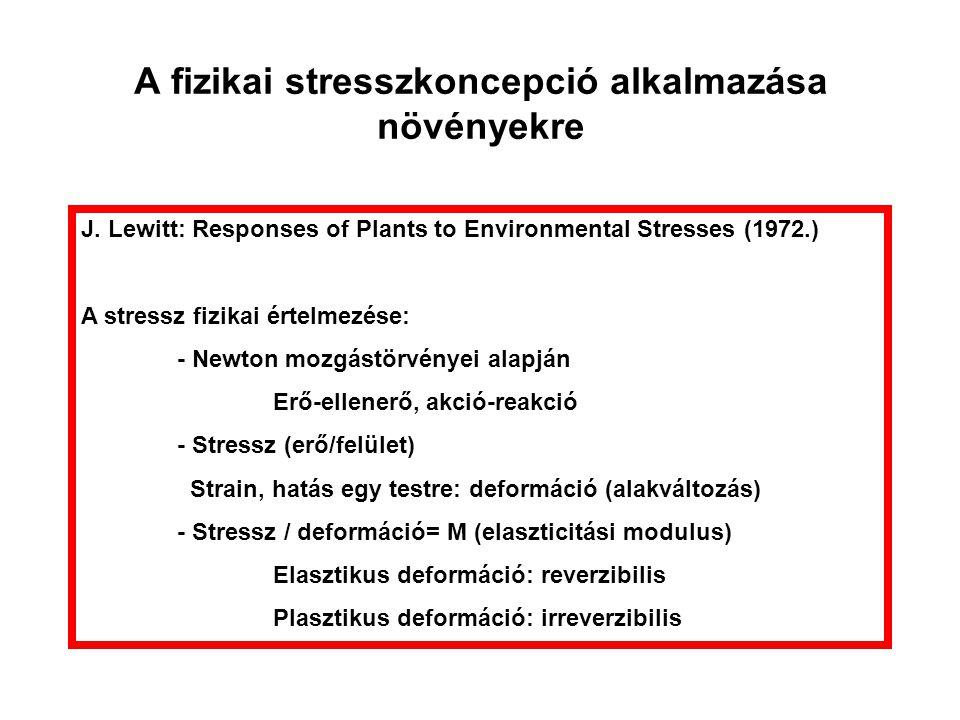 A fizikai stresszkoncepció alkalmazása növényekre J. Lewitt: Responses of Plants to Environmental Stresses (1972.) A stressz fizikai értelmezése: - Ne