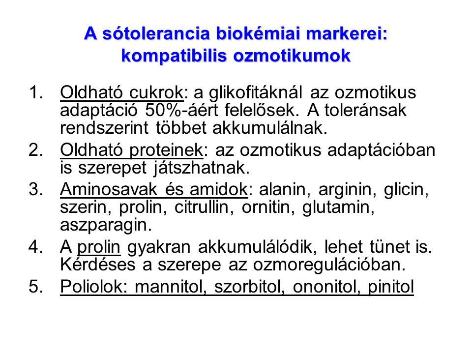 A sótolerancia biokémiai markerei: kompatibilis ozmotikumok 1.Oldható cukrok: a glikofitáknál az ozmotikus adaptáció 50%-áért felelősek. A toleránsak