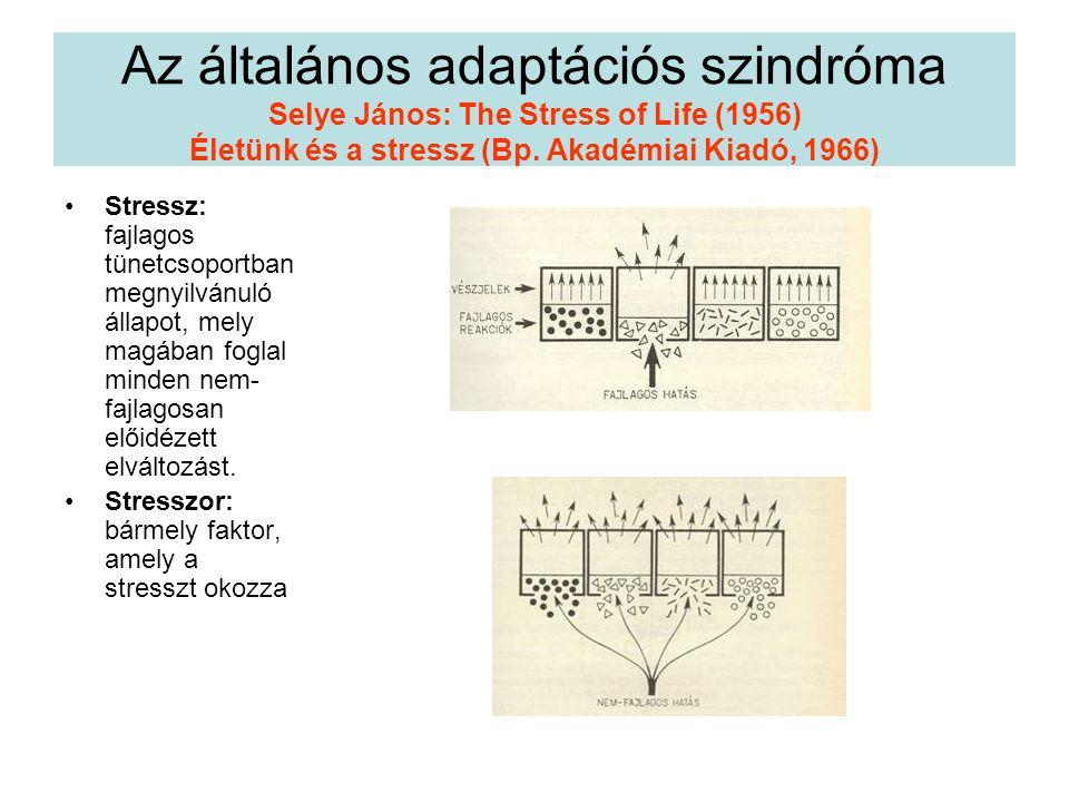 Az általános adaptációs szindróma Selye János: The Stress of Life (1956) Életünk és a stressz (Bp. Akadémiai Kiadó, 1966) Stressz: fajlagos tünetcsopo