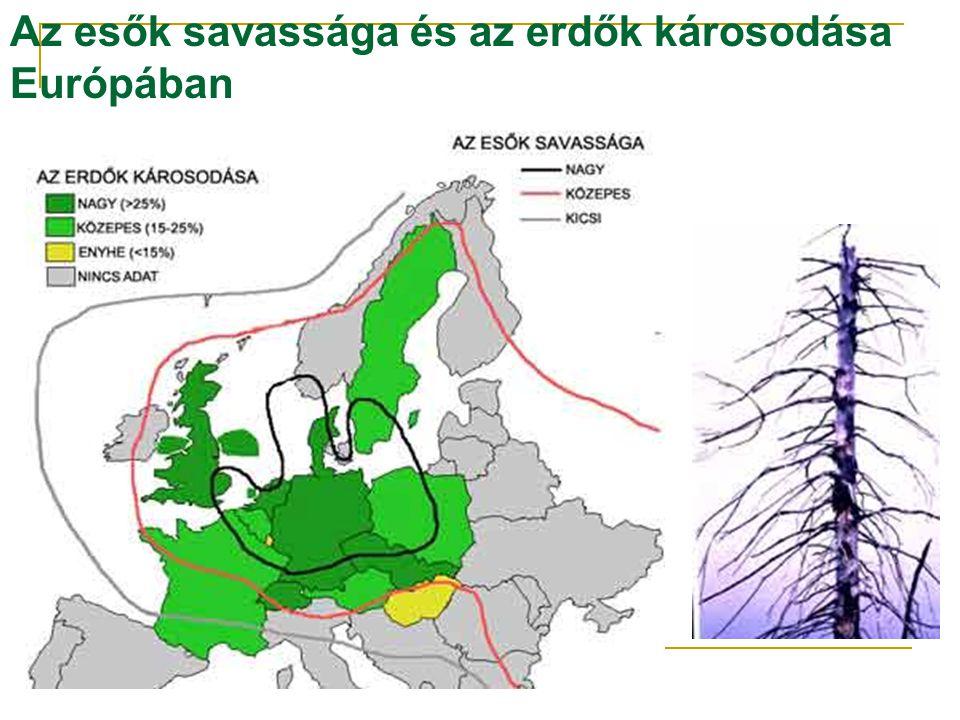 Az esők savassága és az erdők károsodása Európában