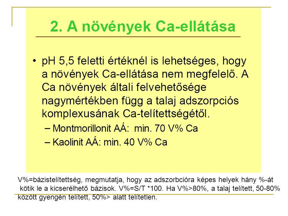 V%=bázistelítettség, megmutatja, hogy az adszorbcióra képes helyek hány %-át kötik le a kicserélhető bázisok. V%=S/T *100. Ha V%>80%, a talaj telített