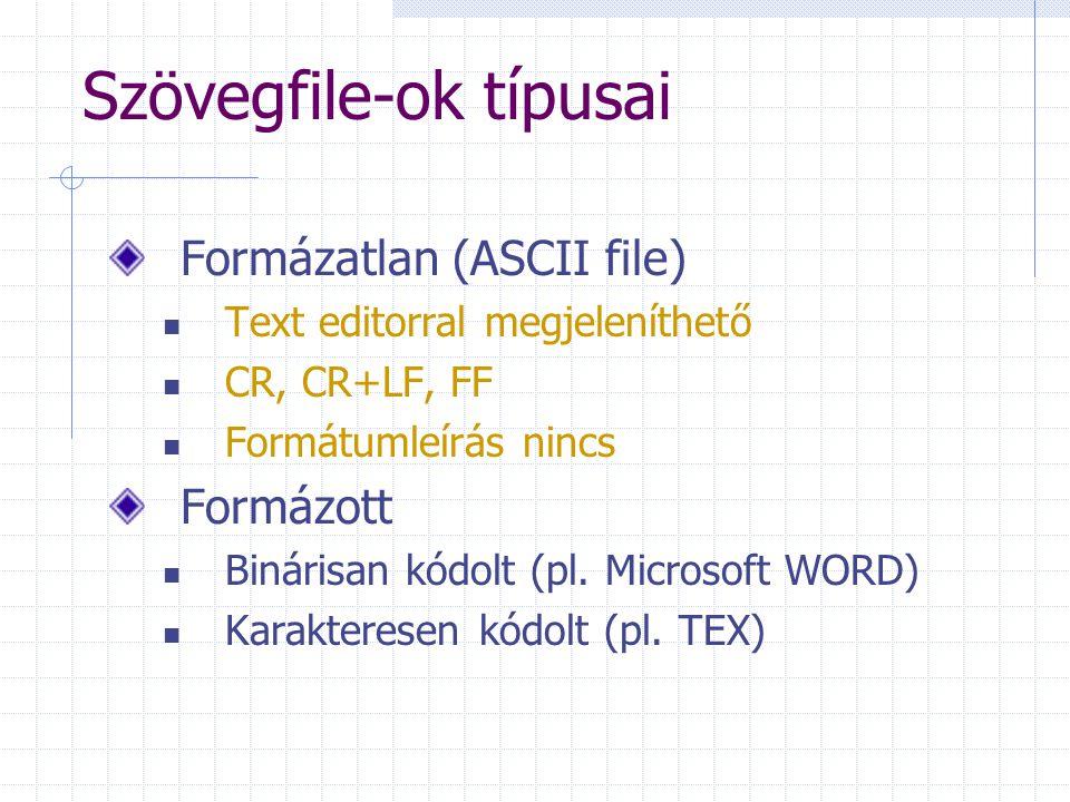 Szövegfile-ok típusai Formázatlan (ASCII file) Text editorral megjeleníthető CR, CR+LF, FF Formátumleírás nincs Formázott Binárisan kódolt (pl.