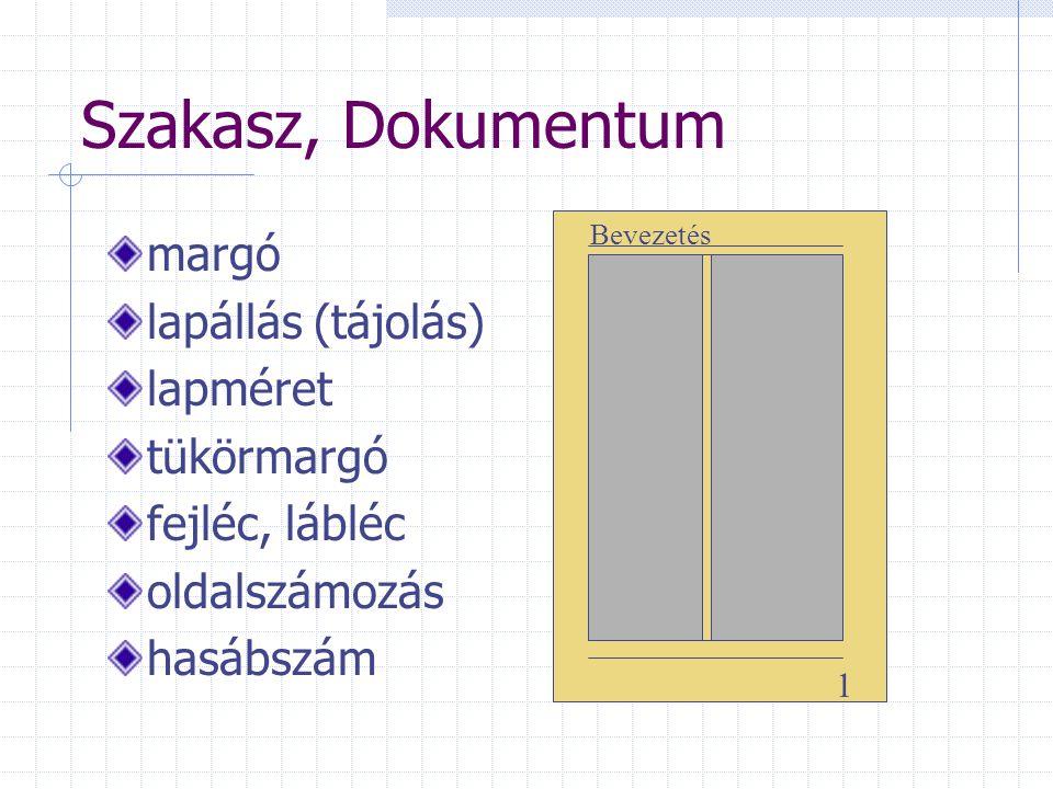 Szakasz, Dokumentum margó lapállás (tájolás) lapméret tükörmargó fejléc, lábléc oldalszámozás hasábszám 1 Bevezetés
