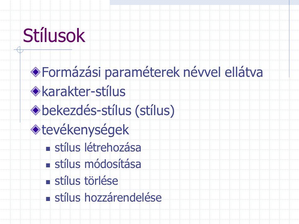 Stílusok Formázási paraméterek névvel ellátva karakter-stílus bekezdés-stílus (stílus) tevékenységek stílus létrehozása stílus módosítása stílus törlése stílus hozzárendelése
