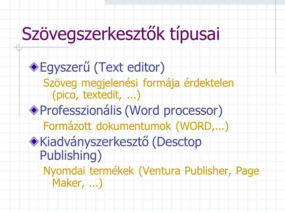 Szövegszerkesztők típusai Egyszerű (Text editor) Szöveg megjelenési formája érdektelen (pico, textedit,...) Professzionális (Word processor) Formázott dokumentumok (WORD,...) Kiadványszerkesztő (Desctop Publishing) Nyomdai termékek (Ventura Publisher, Page Maker,...)