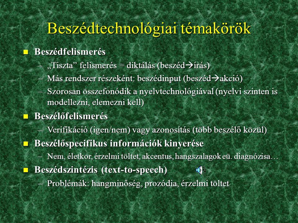 Beszédtechnológiai témakörök 2.