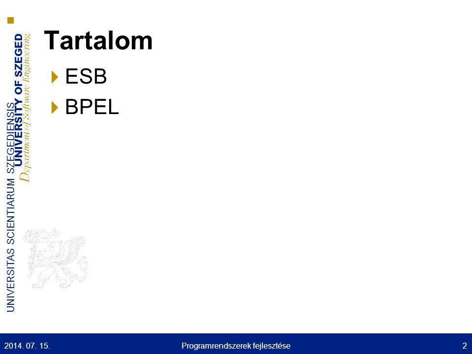 UNIVERSITY OF SZEGED D epartment of Software Engineering UNIVERSITAS SCIENTIARUM SZEGEDIENSIS JBossESB szolgáltatások: CBR – példa Adottak: Szolgáltatások Útválasztó Összerendelés üzenettípusok és szolgáltatások között (útválasztási szabályok) Példa : A kliens küld egy üzenetet az ESB felé (A szolgáltatás fogadja az üzenetet) A szolgáltatás az útválasztóhoz továbbítja az üzenetet Az útválasztó a szabályok (és az üzenet tartalma) alapján továbbítja az üzenetet B vagy C szolgáltatás felé 2014.
