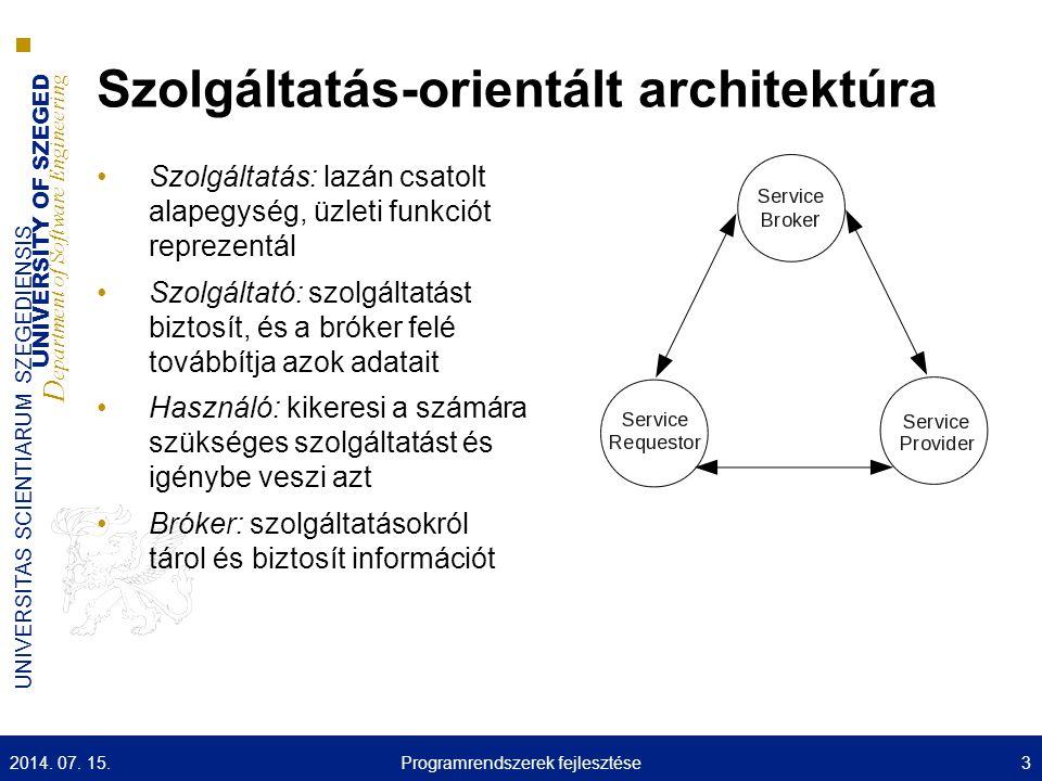 UNIVERSITY OF SZEGED D epartment of Software Engineering UNIVERSITAS SCIENTIARUM SZEGEDIENSIS Tételsor  Elosztott rendszerek ■Motiváció (5 pont) ■Architektúra típusok (5 pont) ■Skálázhatóság (5 pont) ■CAP tétel (5 pont) ■Virtualizációs rétegek (5 pont) ■Elosztott rendszer architektúrák (15 pont)  Átszövődő vonatkozások ■Átszövődő vonatkozások (5 pont) ■Kontextus (5 pont) ■Biztonság (10 pont) ■Konszenzus (5 pont) ■Tranzakció (5 pont) ■Paxos (5 pont) ■Perziszetncia (5 pont)  Web Szolgáltatások ■REST, JSON (10 pont) ■SOAP (5 pont) ■WSDL (20 pont) ■UDDI (5 pont)  Köztesréteg ■Motiváció, nem funkcionális követelmények, típusai, megvalósítása (5) ■JGroups szerepe, képességei (5) ■Apache Hadoop HDFS (5) ■Map-Reduce (10) ■Apache Hadoop HBase/Pig Latin (5) 2014.