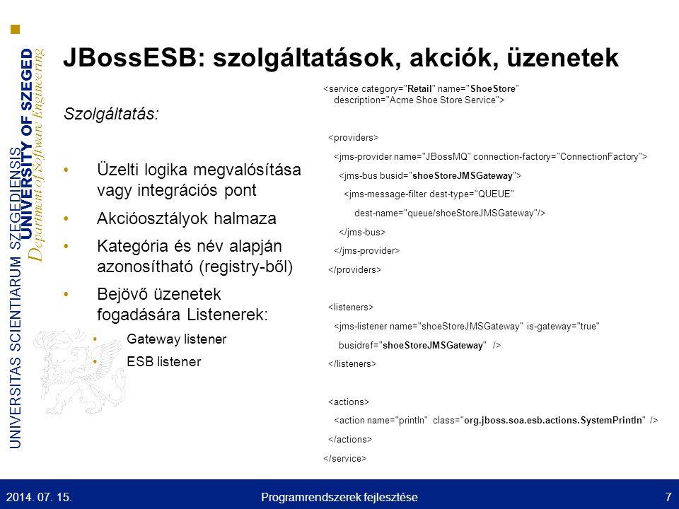 UNIVERSITY OF SZEGED D epartment of Software Engineering UNIVERSITAS SCIENTIARUM SZEGEDIENSIS JBossESB: szolgáltatások, akciók, üzenetek 2014.