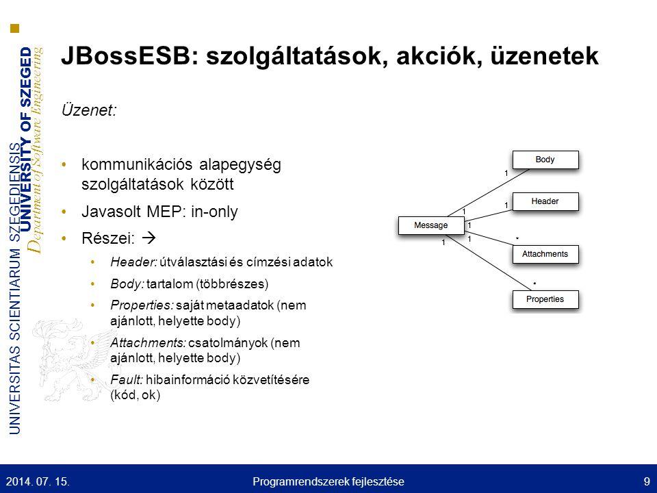 UNIVERSITY OF SZEGED D epartment of Software Engineering UNIVERSITAS SCIENTIARUM SZEGEDIENSIS JBossESB szolgáltatásai: registry Szolgáltatásokkal kapcsolatos információkat szolgáltatja (meta- adatok) Szolgáltatások automatizált felderítése Csak katalógus, nem tárolja a tényleges információt Gyakorlatilag a SOA szolgáltatásbróker feladatait látja el 2014.