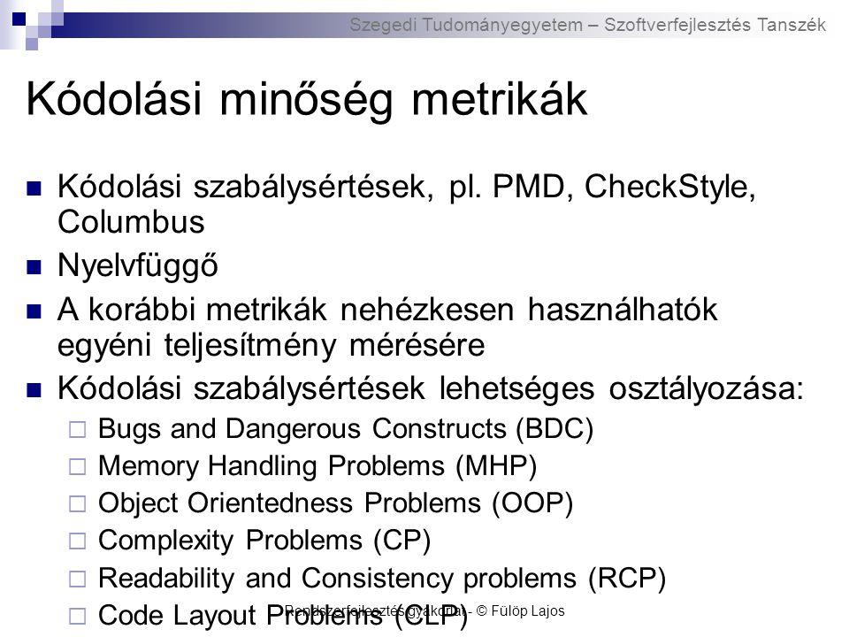 Szegedi Tudományegyetem – Szoftverfejlesztés Tanszék Rendszerfejlesztés gyakorlat - © Fülöp Lajos Kódolási minőség metrikák Kódolási szabálysértések, pl.