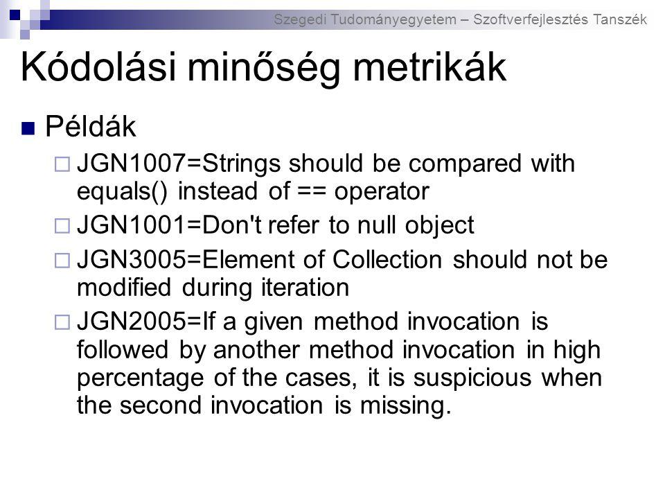 Szegedi Tudományegyetem – Szoftverfejlesztés Tanszék Kódolási minőség metrikák Példák  JGN1007=Strings should be compared with equals() instead of ==