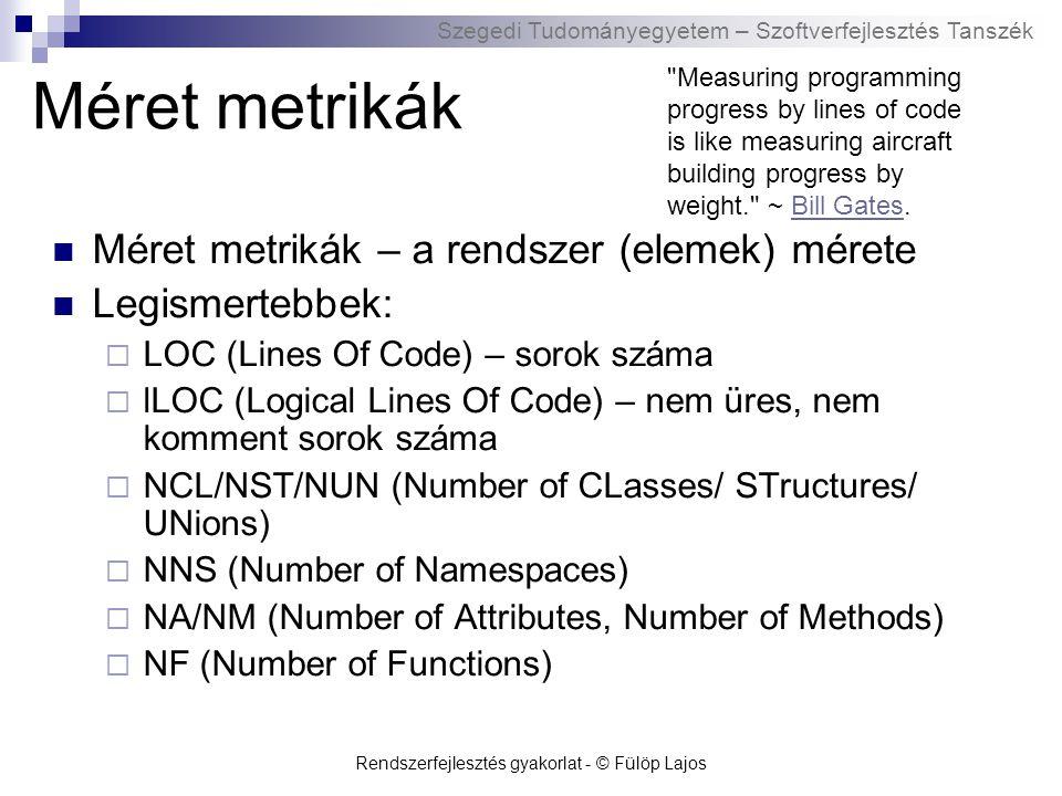 Szegedi Tudományegyetem – Szoftverfejlesztés Tanszék Rendszerfejlesztés gyakorlat - © Fülöp Lajos Méret metrikák Méret metrikák – a rendszer (elemek) mérete Legismertebbek:  LOC (Lines Of Code) – sorok száma  lLOC (Logical Lines Of Code) – nem üres, nem komment sorok száma  NCL/NST/NUN (Number of CLasses/ STructures/ UNions)  NNS (Number of Namespaces)  NA/NM (Number of Attributes, Number of Methods)  NF (Number of Functions) Measuring programming progress by lines of code is like measuring aircraft building progress by weight. ~ Bill Gates.Bill Gates