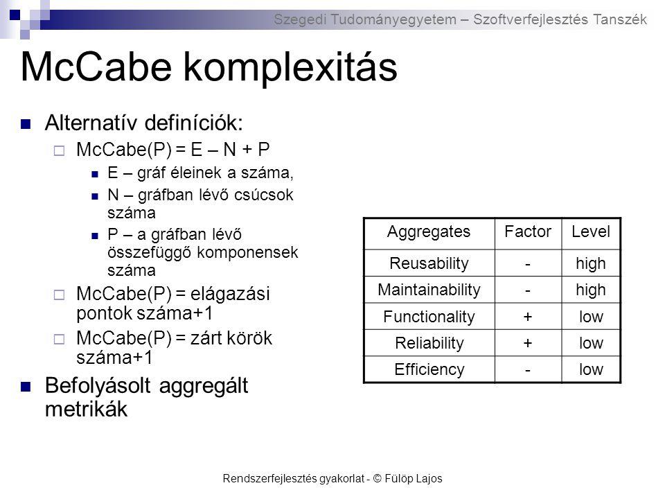 Szegedi Tudományegyetem – Szoftverfejlesztés Tanszék Rendszerfejlesztés gyakorlat - © Fülöp Lajos WMC komplexitás Weighted Methods per Class  Chidamber and Kemerer (C&K)  H.