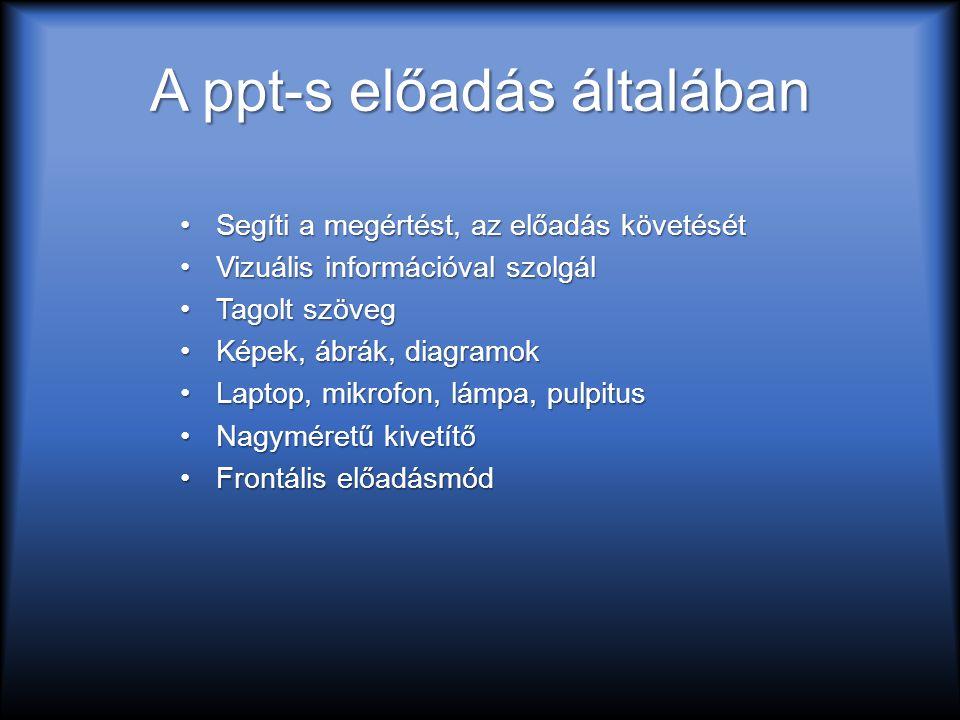 A ppt-s előadás általában Segíti a megértést, az előadás követésétSegíti a megértést, az előadás követését Vizuális információval szolgálVizuális információval szolgál Tagolt szövegTagolt szöveg Képek, ábrák, diagramokKépek, ábrák, diagramok Laptop, mikrofon, lámpa, pulpitusLaptop, mikrofon, lámpa, pulpitus Nagyméretű kivetítőNagyméretű kivetítő Frontális előadásmódFrontális előadásmód