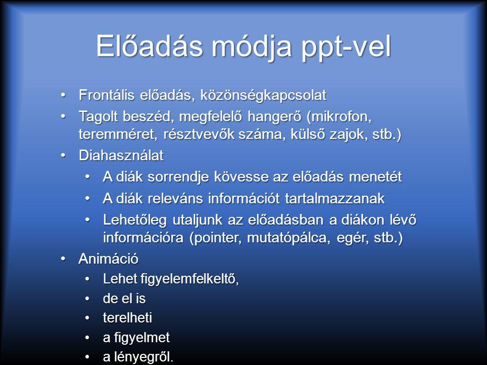 Előadás módja ppt-vel Frontális előadás, közönségkapcsolatFrontális előadás, közönségkapcsolat Tagolt beszéd, megfelelő hangerő (mikrofon, teremméret, résztvevők száma, külső zajok, stb.)Tagolt beszéd, megfelelő hangerő (mikrofon, teremméret, résztvevők száma, külső zajok, stb.) DiahasználatDiahasználat A diák sorrendje kövesse az előadás menetétA diák sorrendje kövesse az előadás menetét A diák releváns információt tartalmazzanakA diák releváns információt tartalmazzanak Lehetőleg utaljunk az előadásban a diákon lévő információra (pointer, mutatópálca, egér, stb.)Lehetőleg utaljunk az előadásban a diákon lévő információra (pointer, mutatópálca, egér, stb.) AnimációAnimáció Lehet figyelemfelkeltő,Lehet figyelemfelkeltő, de el isde el is terelhetiterelheti a figyelmeta figyelmet a lényegről.a lényegről.