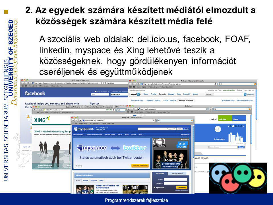 UNIVERSITY OF SZEGED D epartment of Software Engineering UNIVERSITAS SCIENTIARUM SZEGEDIENSIS A szociális web oldalak: del.icio.us, facebook, FOAF, li