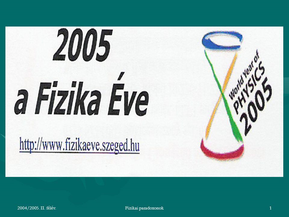 2004/2005. II. félév.Fizikai paradoxonok1
