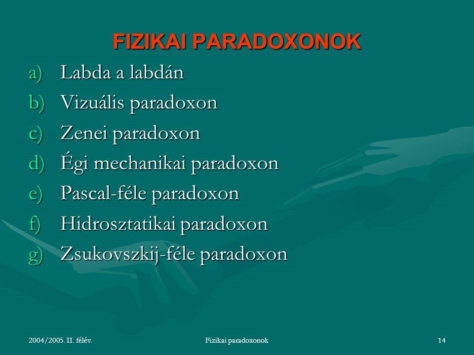 2004/2005. II. félév.Fizikai paradoxonok14 FIZIKAI PARADOXONOK a)Labda a labdán b)Vizuális paradoxon c)Zenei paradoxon d)Égi mechanikai paradoxon e)Pa