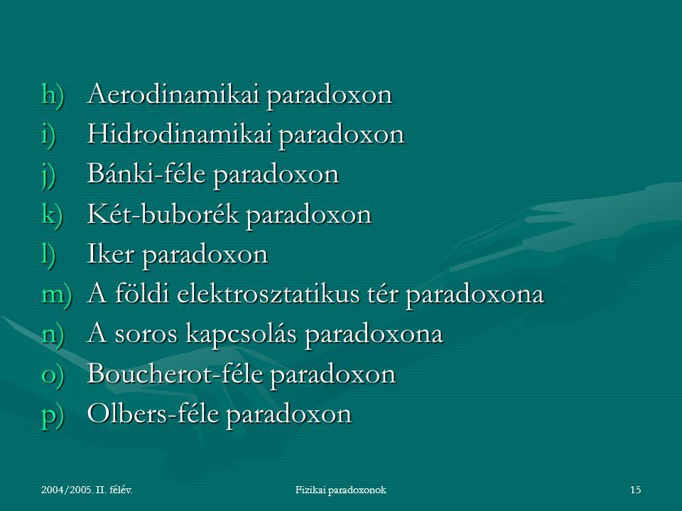 2004/2005. II. félév.Fizikai paradoxonok15 h)Aerodinamikai paradoxon i)Hidrodinamikai paradoxon j)Bánki-féle paradoxon k)Két-buborék paradoxon l)Iker