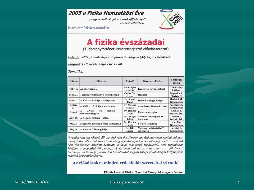 2004/2005. II. félév.Fizikai paradoxonok2