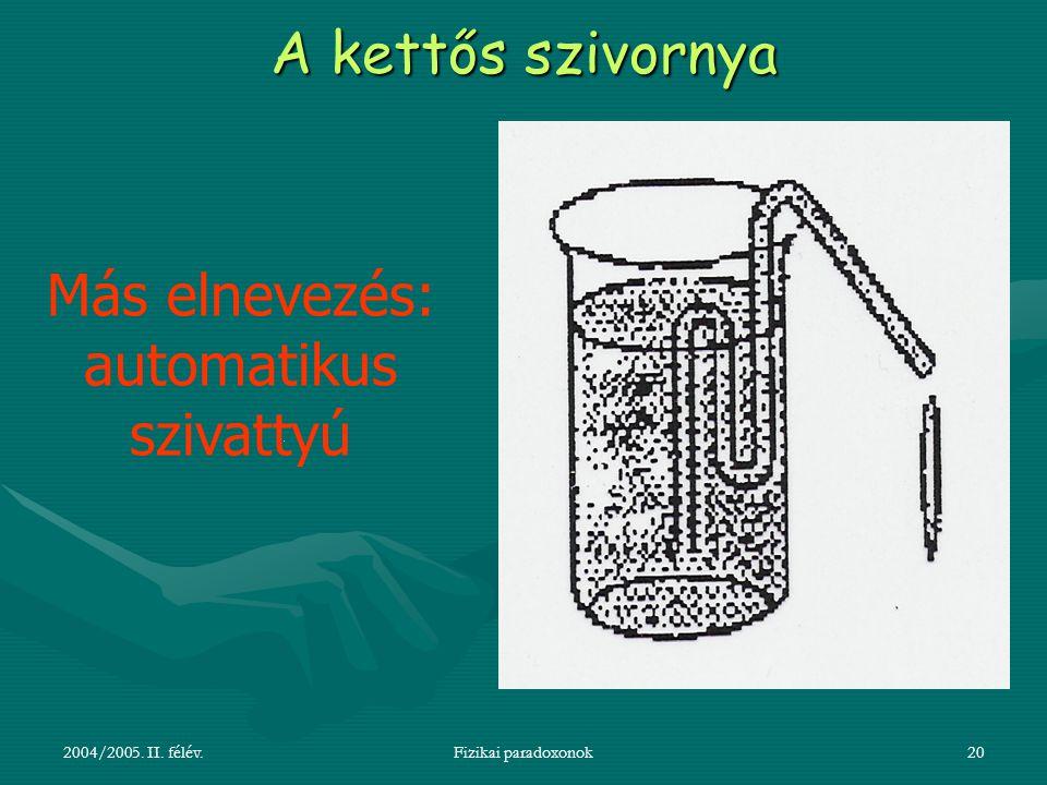 2004/2005. II. félév.Fizikai paradoxonok20 A kettős szivornya Más elnevezés: automatikus szivattyú