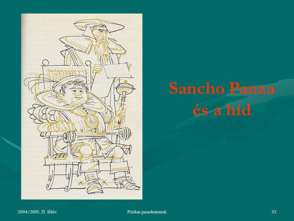 2004/2005.II. félév.Fizikai paradoxonok36 Sancho Panza kormányzó lesz egy szigeten.