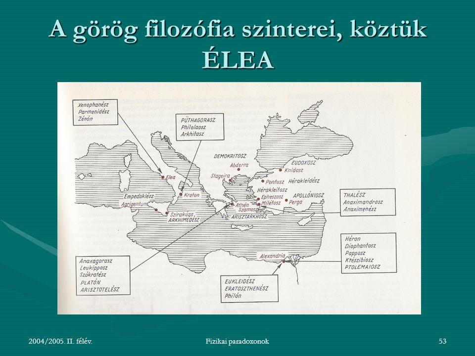 2004/2005. II. félév.Fizikai paradoxonok53 A görög filozófia szinterei, köztük ÉLEA