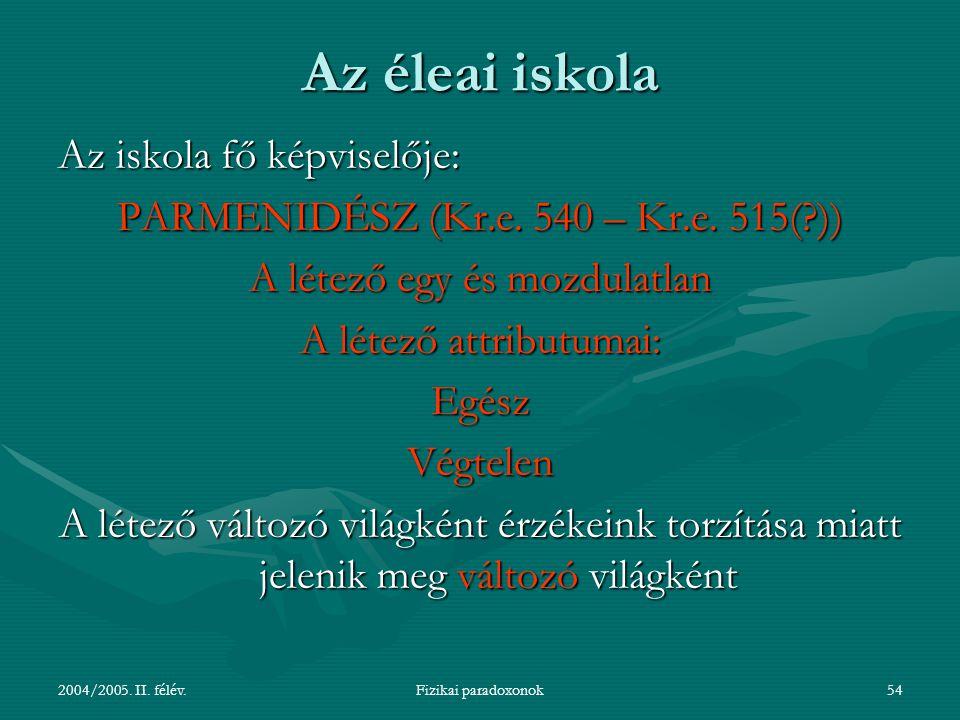 2004/2005. II. félév.Fizikai paradoxonok54 Az éleai iskola Az iskola fő képviselője: PARMENIDÉSZ (Kr.e. 540 – Kr.e. 515(?)) A létező egy és mozdulatla