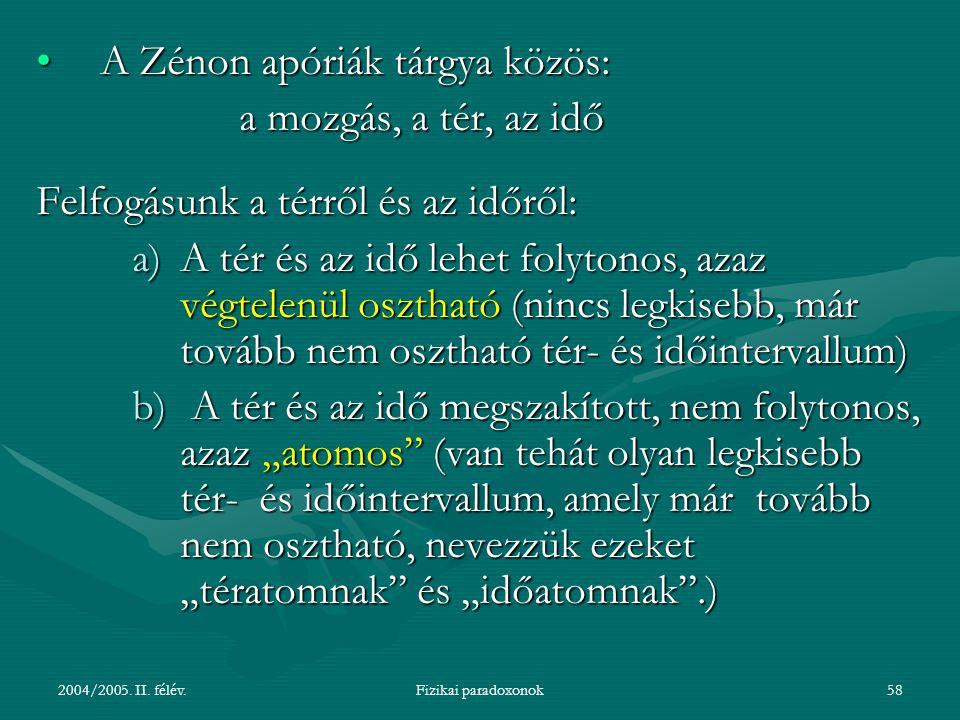 2004/2005.II. félév.Fizikai paradoxonok59 1.