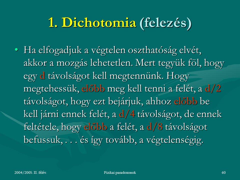 2004/2005. II. félév.Fizikai paradoxonok60 1. Dichotomia (felezés) Ha elfogadjuk a végtelen oszthatóság elvét, akkor a mozgás lehetetlen. Mert tegyük