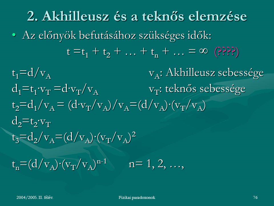 2004/2005. II. félév.Fizikai paradoxonok76 2. Akhilleusz és a teknős elemzése Az előnyök befutásához szükséges idők:Az előnyök befutásához szükséges i