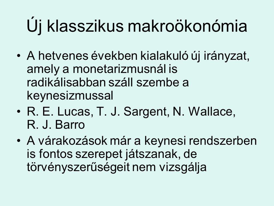 A hetvenes években kialakuló új irányzat, amely a monetarizmusnál is radikálisabban száll szembe a keynesizmussal R. E. Lucas, T. J. Sargent, N. Walla
