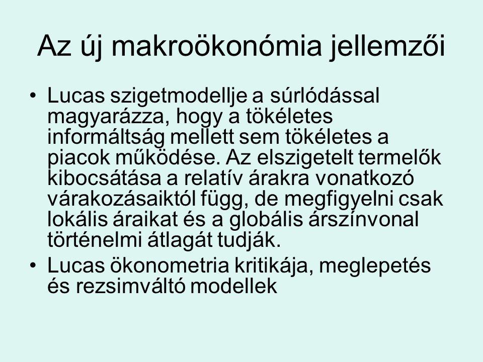 Az új makroökonómia jellemzői Lucas szigetmodellje a súrlódással magyarázza, hogy a tökéletes informáltság mellett sem tökéletes a piacok működése. Az