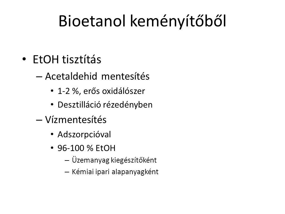 Bioetanol keményítőből EtOH tisztítás – Acetaldehid mentesítés 1-2 %, erős oxidálószer Desztilláció rézedényben – Vízmentesítés Adszorpcióval 96-100 %