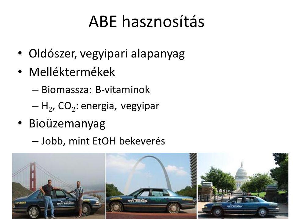 ABE hasznosítás Oldószer, vegyipari alapanyag Melléktermékek – Biomassza: B-vitaminok – H 2, CO 2 : energia, vegyipar Bioüzemanyag – Jobb, mint EtOH b