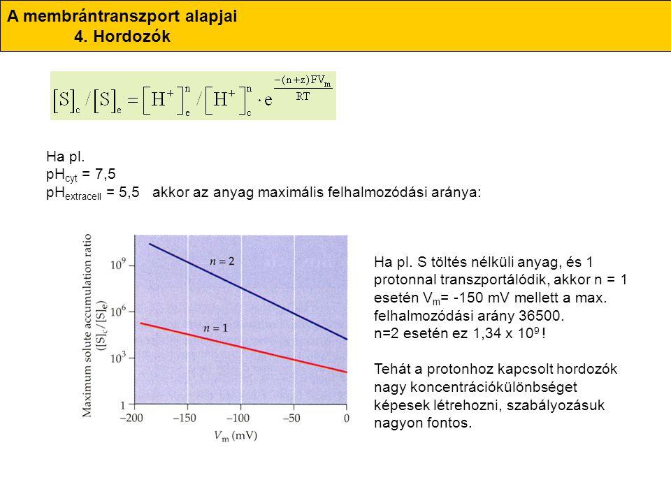 A membrántranszport alapjai 4. Hordozók Ha pl. pH cyt = 7,5 pH extracell = 5,5 akkor az anyag maximális felhalmozódási aránya: Ha pl. S töltés nélküli