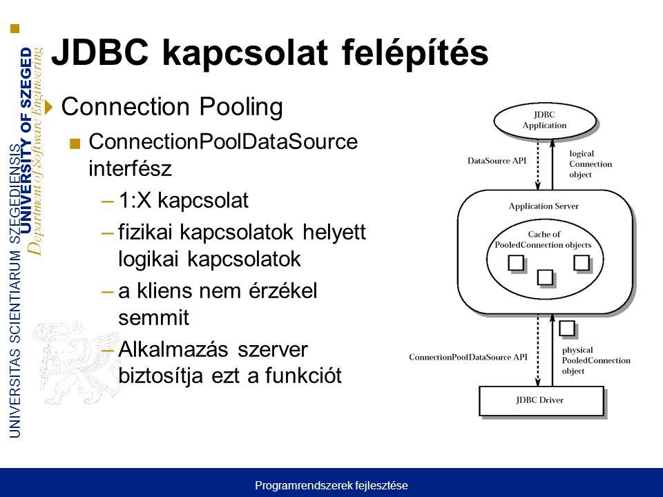 UNIVERSITY OF SZEGED D epartment of Software Engineering UNIVERSITAS SCIENTIARUM SZEGEDIENSIS 6 JDBC kapcsolat felépítés  Connection Pooling ■Connect