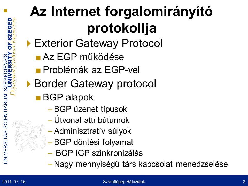 UNIVERSITY OF SZEGED D epartment of Software Engineering UNIVERSITAS SCIENTIARUM SZEGEDIENSIS iBGP és eBGP AS200 AS100AS300 eBGP iBGP 2014.