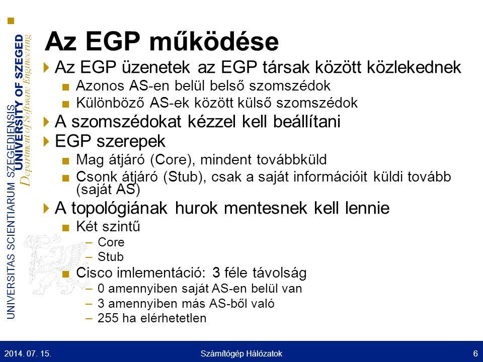 UNIVERSITY OF SZEGED D epartment of Software Engineering UNIVERSITAS SCIENTIARUM SZEGEDIENSIS Példa 2014.