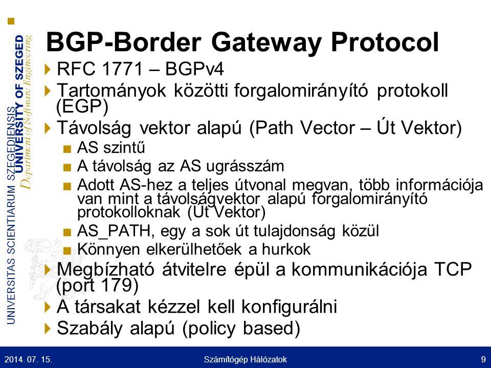 UNIVERSITY OF SZEGED D epartment of Software Engineering UNIVERSITAS SCIENTIARUM SZEGEDIENSIS Nexthop tulajdonság  A következő ugrás IP cím a cél eléréséhez  Az eBGP, mindég a közvetlenül kapcsolódó szomszéd interfésze  Az iBGP ■ha az útvonal belső akkor a hirdető IP címe ■ha külső akkor a külső szomszéd IP címe (rekurzív keresés, IGP segítségével, netx- hop-self) 2014.