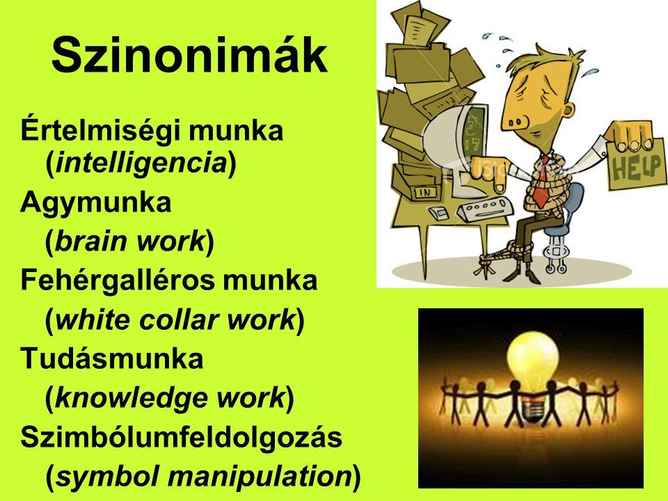Szinonimák Értelmiségi munka (intelligencia) Agymunka (brain work) Fehérgalléros munka (white collar work) Tudásmunka (knowledge work) Szimbólumfeldol