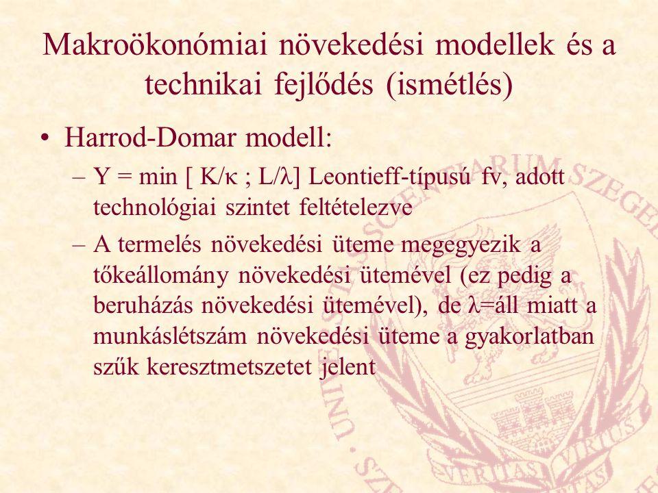 Makroökonómiai növekedési modellek és a technikai fejlődés (ismétlés) Harrod-Domar modell: –Y = min [ K/κ ; L/λ] Leontieff-típusú fv, adott technológi