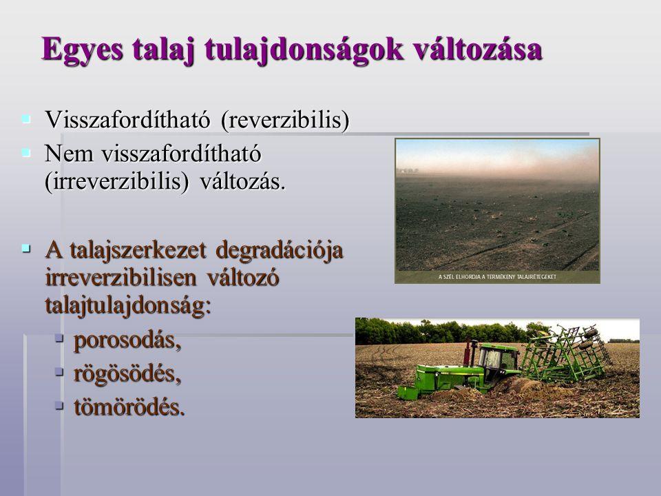 Egyes talaj tulajdonságok változása  Visszafordítható (reverzibilis)  Nem visszafordítható (irreverzibilis) változás.  A talajszerkezet degradációj