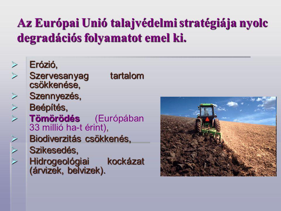 Az Európai Unió talajvédelmi stratégiája nyolc degradációs folyamatot emel ki.  Erózió,  Szervesanyag tartalom csökkenése,  Szennyezés,  Beépítés,