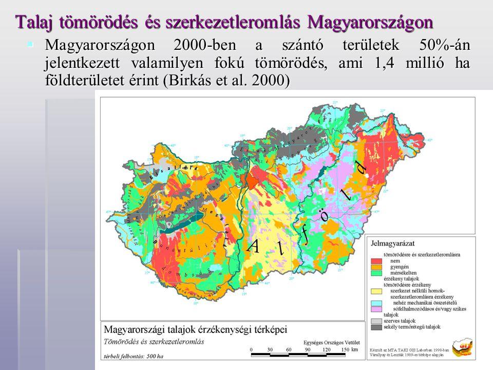 Talaj tömörödés és szerkezetleromlás Magyarországon  Magyarországon 2000-ben a szántó területek 50%-án jelentkezett valamilyen fokú tömörödés, ami 1,