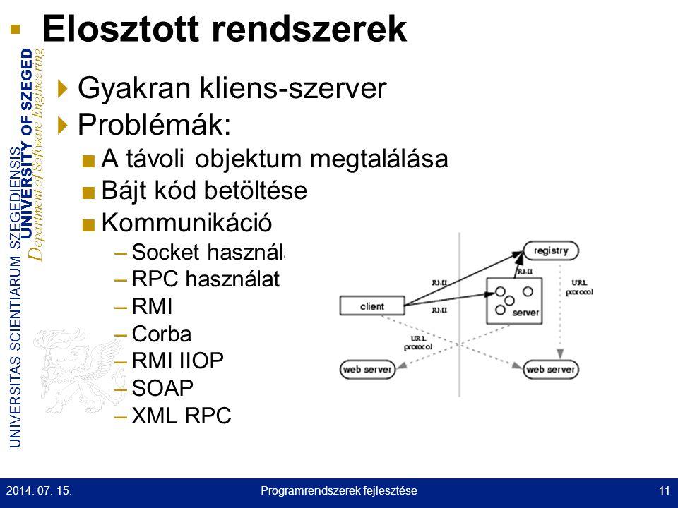 UNIVERSITY OF SZEGED D epartment of Software Engineering UNIVERSITAS SCIENTIARUM SZEGEDIENSIS Elosztott rendszerek  Gyakran kliens-szerver  Problémá