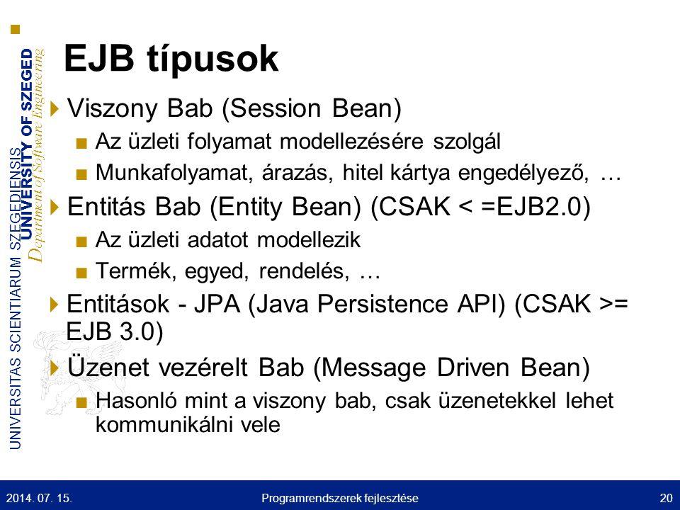 UNIVERSITY OF SZEGED D epartment of Software Engineering UNIVERSITAS SCIENTIARUM SZEGEDIENSIS EJB típusok  Viszony Bab (Session Bean) ■Az üzleti foly